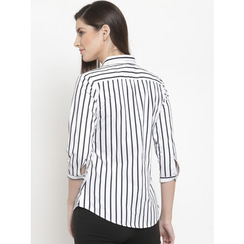 Hancock Women White & Navy Blue Regular Fit Striped Formal Shirt