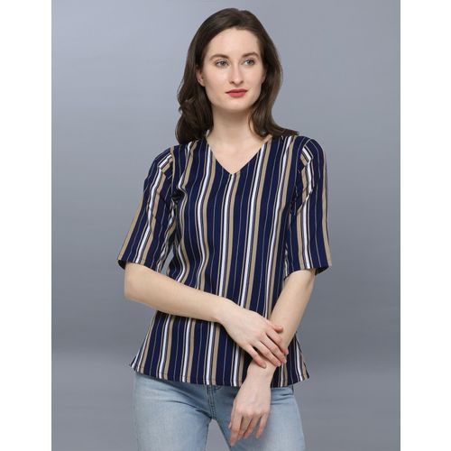 Selvia Casual Half Sleeve Striped, Printed Women Dark Blue, Multicolor Top