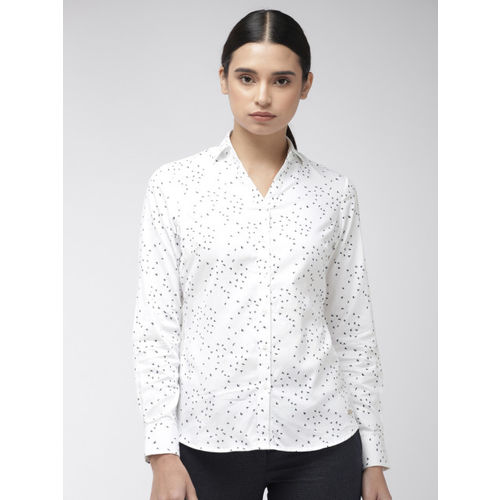 Park Avenue Women White & Navy Blue Slim Fit Printed Formal Shirt