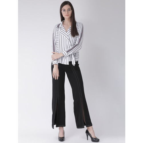 Texco Women White & Navy Blue Regular Fit Striped Casual Shirt