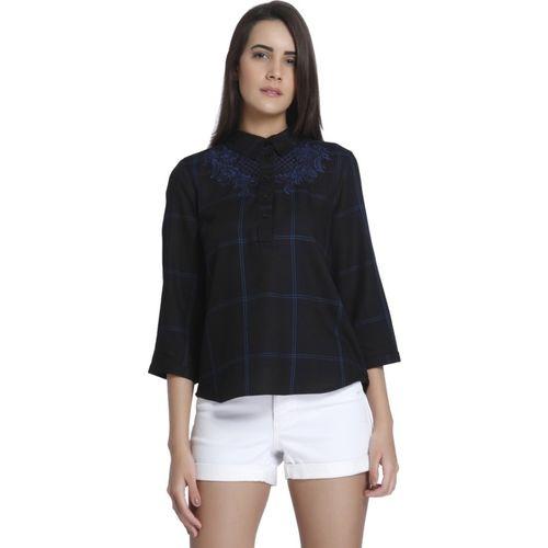 Vero Moda Casual Regular Sleeve Checkered Women Dark Blue Top