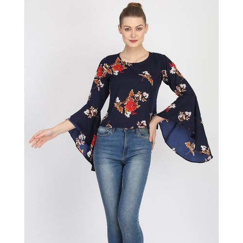 Raghumaya Casual Bell Sleeve Printed Women Dark Blue Top