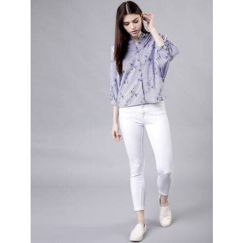 Tokyo Talkies Women Blue Regular Fit Printed Casual Shirt