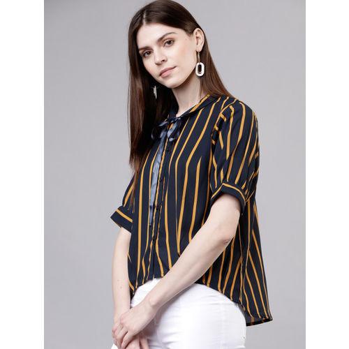 Tokyo Talkies Women Navy Blue & Mustard Yellow Regular Fit Striped Casual Shirt