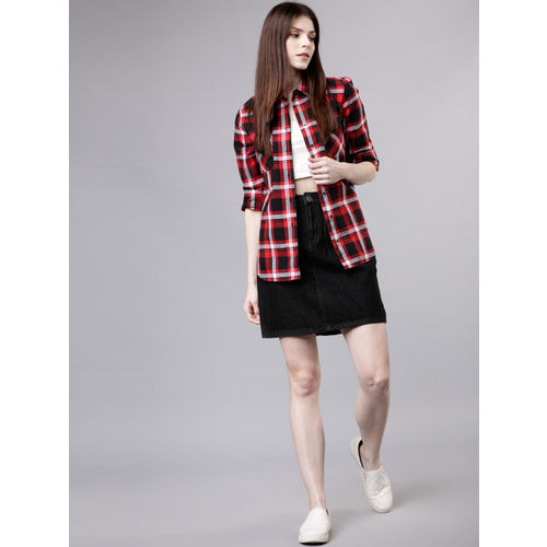 Tokyo Talkies Women Red & Black Regular Fit Checked Casual Shirt