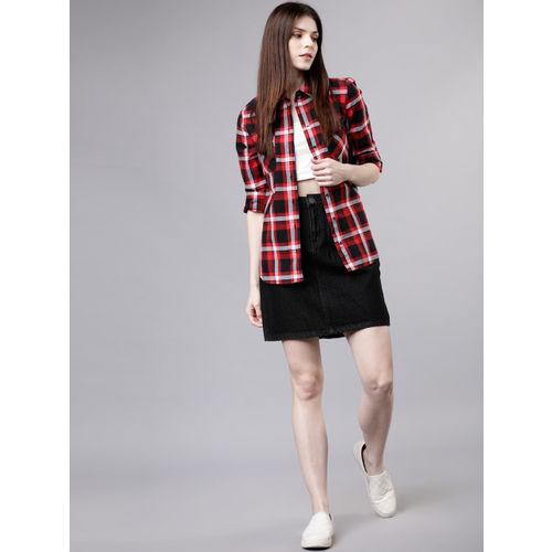 Tokyo Talkies Women Red & Black Regular Fit Checked Casual Shirt