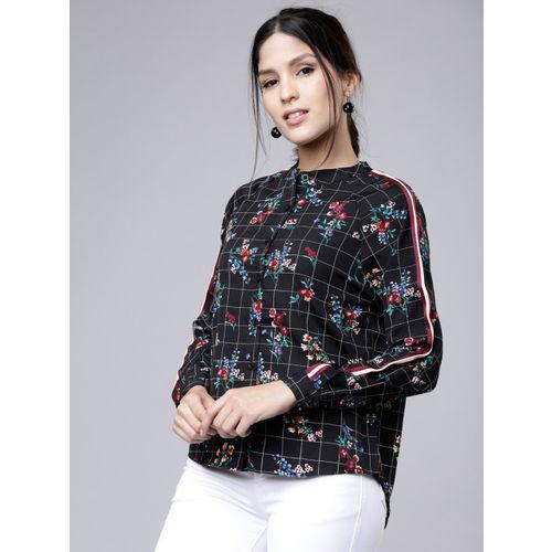 Tokyo Talkies Women Black Regular Fit Printed Casual Shirt