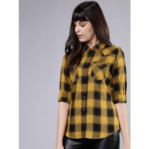 Tokyo Talkies Women Mustard & Black Regular Fit Checked Casual Shirt