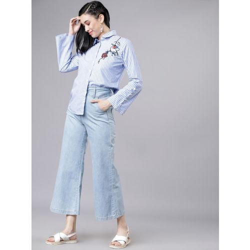 Tokyo Talkies Women Blue & White Regular Fit Printed Casual Shirt