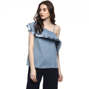 Kazo Party Layered Sleeve Solid Women Grey Top