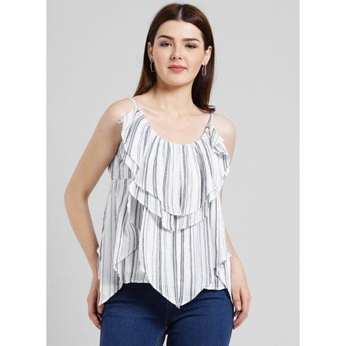 Miway Casual Noodle Strap Striped Women White, Grey Top