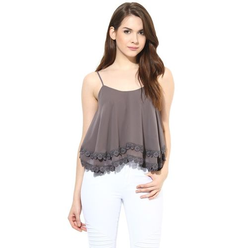Harpa Party Sleeveless Solid Women Grey Top