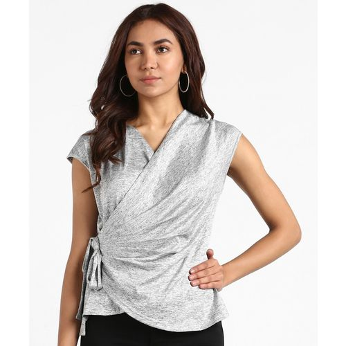 AND Casual Cap Sleeve Solid Women Grey Top