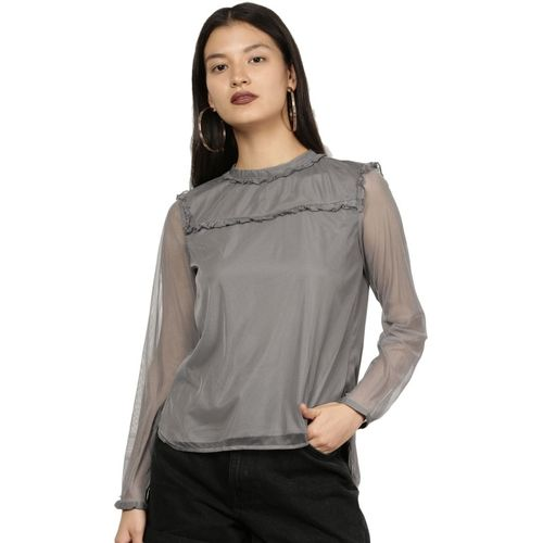 All About You Casual Full Sleeve Solid Women Grey Top