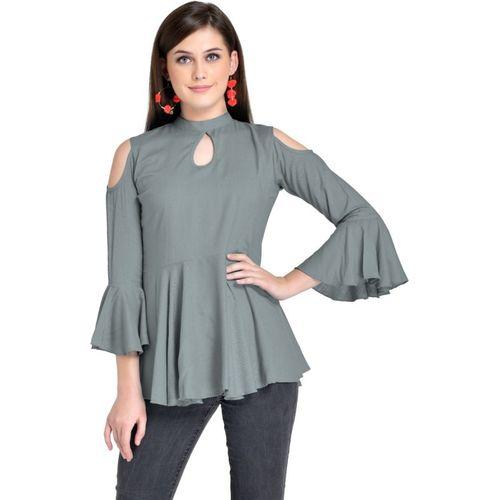 VAANYA Casual Cold Shoulder Solid Women Grey Top