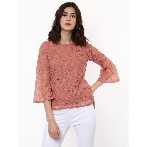 Sassafras Casual Bell Sleeve Lace Women Pink Top
