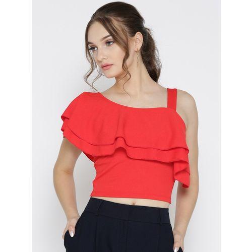Veni Vidi Vici Party Short Sleeve, Cap Sleeve, Shoulder Strap, Half Sleeve Solid, Self Design, Stylised Women Red, Pink Top