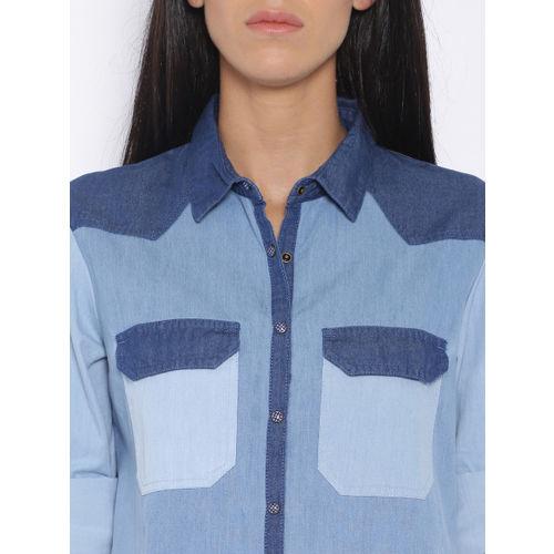 Tokyo Talkies Women Blue Regular Fit Washed Casual Shirt