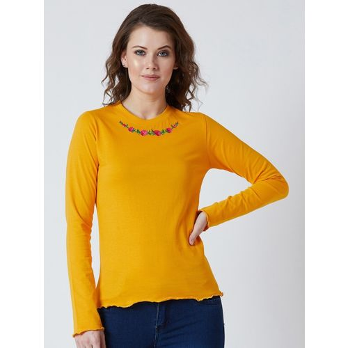 The Dry State Casual Regular Sleeve Embroidered Women Yellow Top