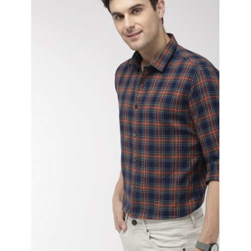 Mast & Harbour Men Navy Blue & Orange Regular Fit Checked Casual Shirt
