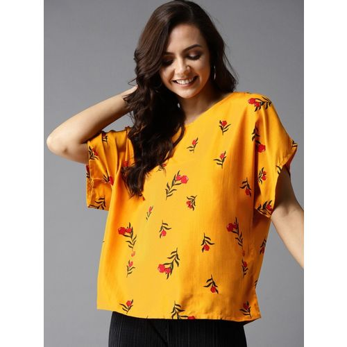 HERE&NOW Casual Short Sleeve Printed Women Yellow Top