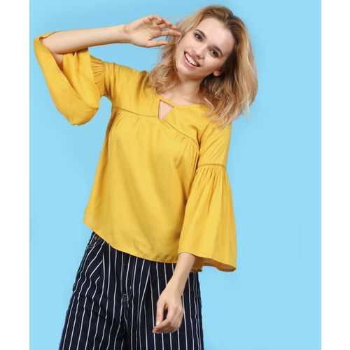 Ann Springs Casual Bell Sleeve Solid Women Yellow Top