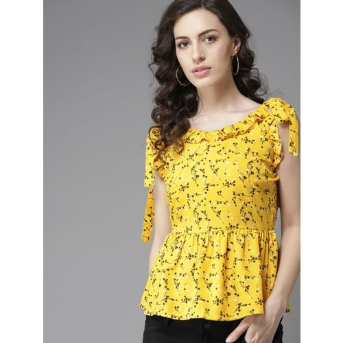 Moda Rapido Casual No Sleeve Printed Women Yellow Top
