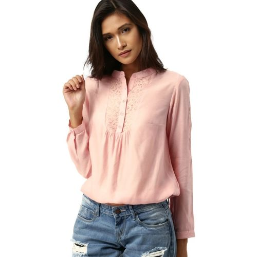 All About You Casual Full Sleeve Self Design Women Pink Top