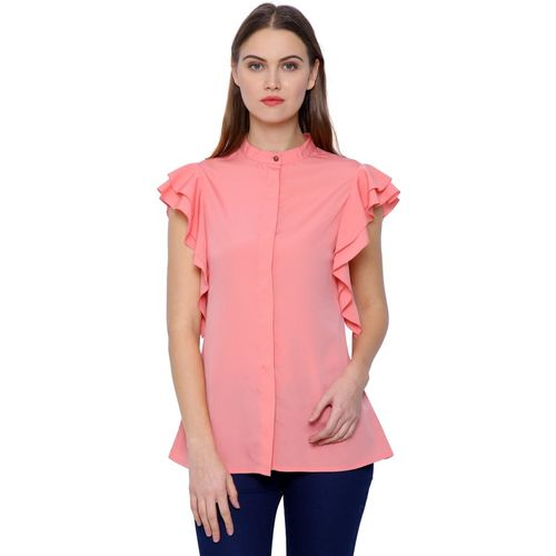 @499 Casual Cape Sleeve Solid Women Pink Top