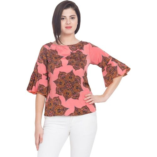 Hive91 Casual Bell Sleeve Printed Women Pink Top