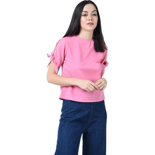Le Chaperon Casual Slit Sleeve Solid Women Pink Top