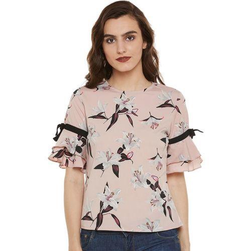 Bohobi Casual Half Sleeve Floral Print Women Pink Top