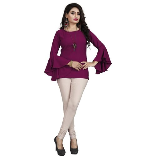 BHUTAIYA Casual Butterfly Sleeve Solid Women Purple Top