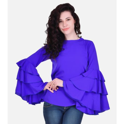 VAANYA Casual Full Sleeve Solid Women Purple Top