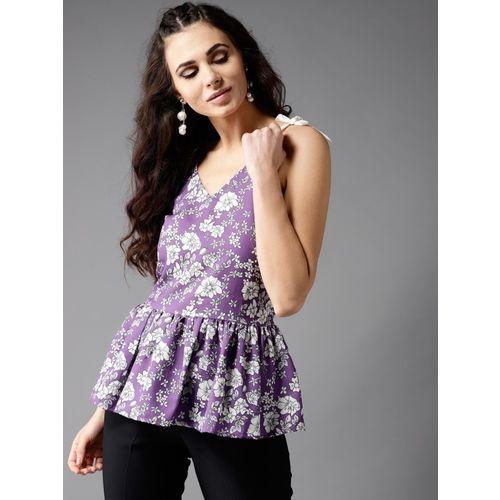 Moda Rapido Casual Noodle Strap Printed Women Purple Top