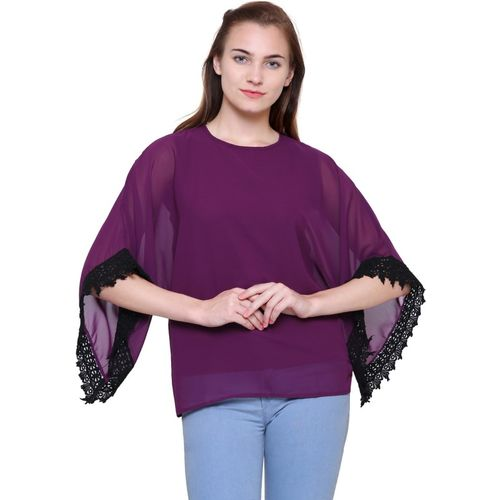 POISON IVY Casual 3/4 Sleeve, Bell Sleeve Solid, Lace Women Purple Top