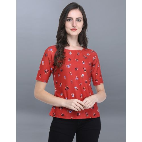 Selvia Casual Regular Sleeve Floral Print, Printed Women Red, Multicolor Top