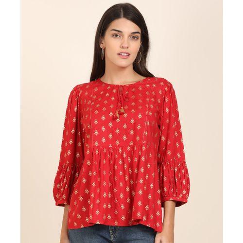 Global Desi Casual 3/4 Sleeve Printed Women Red, Gold Top