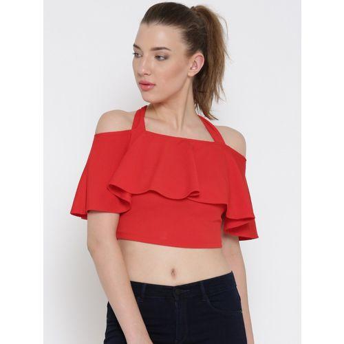 Veni Vidi Vici Casual Half Sleeve Solid, Stylised, Self Design Women Red Top