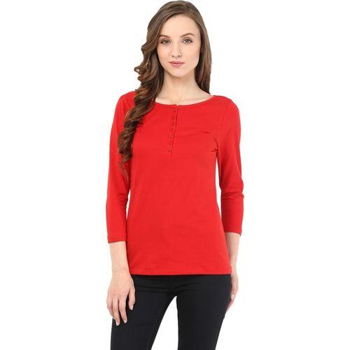 Mi Moda Casual 3/4 Sleeve Solid Women Red Top