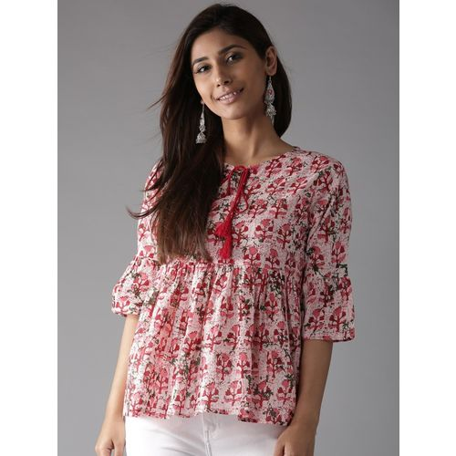 HERE&NOW Casual Bell Sleeve Printed Women Red Top