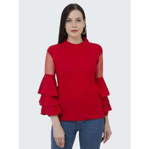 BuyNewTrend Casual Bell Sleeve Solid Women Red Top