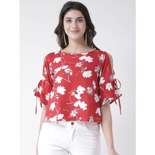 The Vanca Casual Cold Shoulder Printed Women Red Top