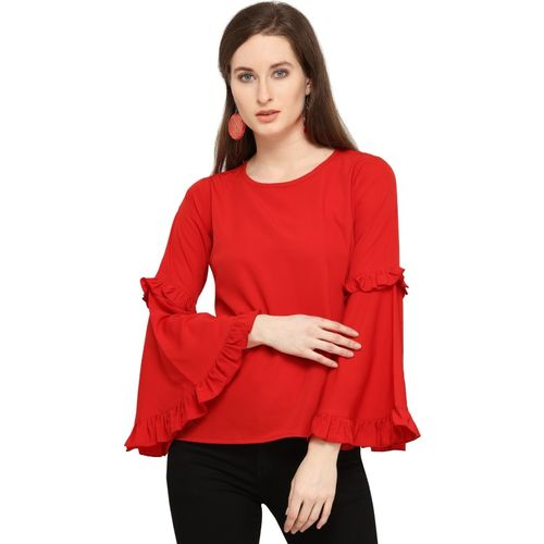 SYASII Casual Full Sleeve Solid Women Red Top
