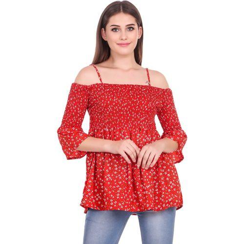 Elyraa Casual 3/4 Sleeve Floral Print Women Red Top