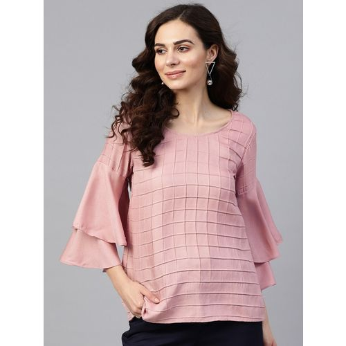 Zima Leto Casual Layered Sleeve Solid Women Pink Top
