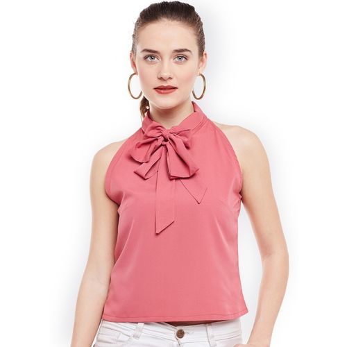 Popnetic Party No Sleeve Solid Women Pink Top