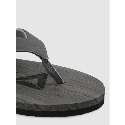 Reebok Men Charcoal Grey & Black WILLIS LP Printed Thong Flip-Flops