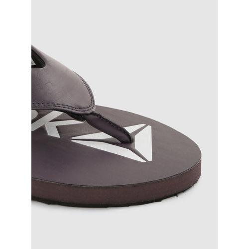 Reebok Men Coffee Brown & White Stark LP Printed Thong Flip-Flops