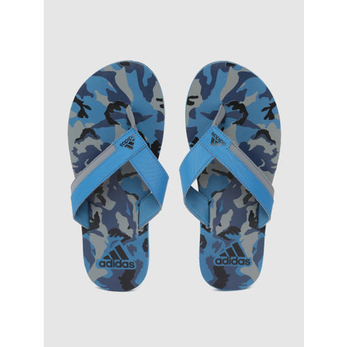 ADIDAS Men Blue & Grey Toe Side II Camouflage Print Thong Flip-Flops